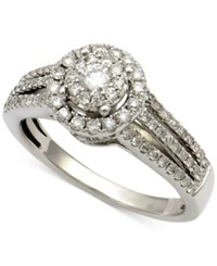 Macy's Diamond Halo Cluster Engagment Ring 3 4 Ct. T.W. In 14K White Gold
