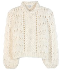 Ganni The Julliard Mohair And Wool Sweater White