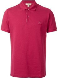 Burberry Brit Embroidered Logo Polo Shirt Pink And Purple