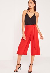 Missguided Wrap Belted Culottes Red Pink