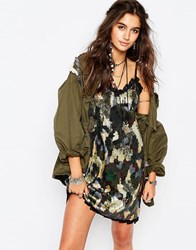 Native Rose Sequin Dress In Camo Camo