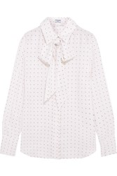 Frame Le Scarf Pussy Bow Printed Silk Charmeuse Shirt Off White