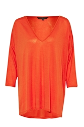 French Connection Sonny Plains Slouchy V Neck Top Orange
