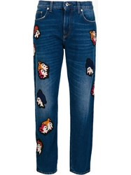Msgm Patch Detail Cropped Jeans Blue