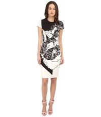 Prabal Gurung Multi Floral Lace Print Short Sleeve Dress Black White Floral Lace Print