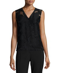 Elie Tahari Cayden Sleeveless Floral Fil Coupe Shell Black
