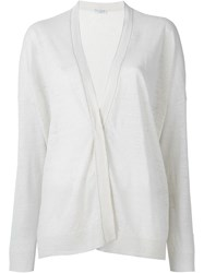 Brunello Cucinelli Drape Fasten Relaxed Fit Cardigan Nude And Neutrals
