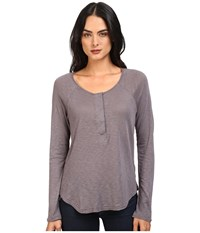 Splendid Slub Tees Long Sleeve Henley Asphalt Women's Clothing Black