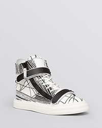 Giuseppe Zanotti Lace Up High Top Sneakers London Scribble Bianco Nero