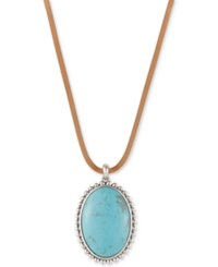 Lucky Brand Silver Tone Leather Cord Large Blue Stone Pendant Necklace