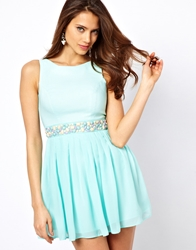 Elise Ryan Skater Dress With Jewelled Waist Mintgreen