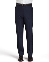 Isaia Basic Wool Trousers Navy Navy Blue