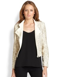 Alice Olivia Jace Embellished Leather Motorcycle Jacket Cream Multi