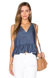 Lucca Couture V Neck Peplum Tank Navy