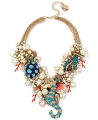 Betsey Johnson Gold Tone Sea Horse Multi Chain Bauble Statement Necklace