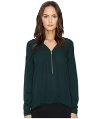 The Kooples Long Sleeve T Shirt Front Zip Green
