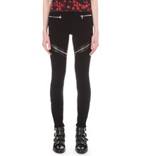 Givenchy Leather Trim Stretch Crepe Leggings Black