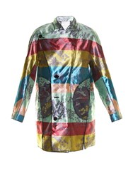 Marco De Vincenzo Reversible Jacquard Coat Blue Multi