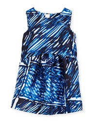 Milly Minis Sleeveless Scribble Print Shift Dress Blue