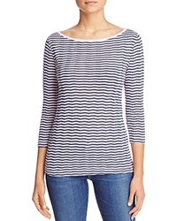 Three Dots British Chevron Stripe Tee Bloomingdale's Exclusive Hint Of Blue Night Iris