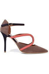Malone Souliers Veronica Leather Trimmed Suede Pumps Nude