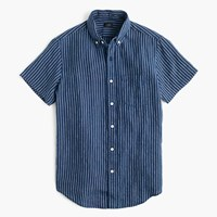 J.Crew Short Sleeve Shirt In Indigo Striped Irish Linen Indigo York Stripe