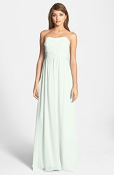 Women's Donna Morgan 'Stephanie' Strapless Ruched Chiffon Gown Hint Of Mint