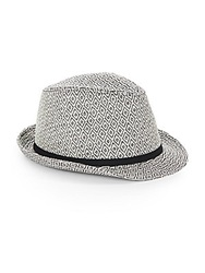 Saks Fifth Avenue Patterned Paper Fedora Black White