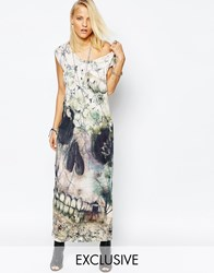Religion Maxi T Shirt Dress With Floral Skull Print Green Multi