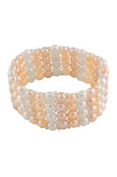 Stacked Multicolored 7 8Mm Pearl Stretch Bracelet