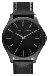 Men's Ax Armani Exchange Round Leather Strap Watch 45Mm Black