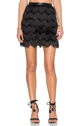Sam Edelman Fiona Feather Fringe Mini Skirt Black