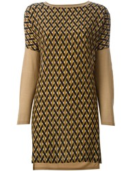 Agnona Geometric Print Slit Sides Blouse Nude And Neutrals