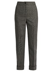 Dolce And Gabbana Prince Of Wales Checked Wool Cropped Trousers Grey