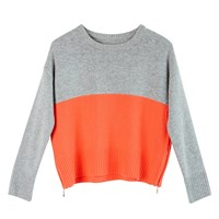 Ille De Cocos Colour Block Sweater Grey And Coral