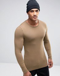 Asos Extreme Muscle Long Sleeve T Shirt With Crew Neck In Beige Brown