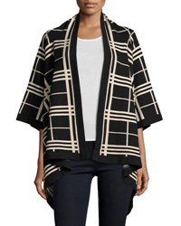 Neiman Marcus Plaid Open Front Cardigan Black Plai