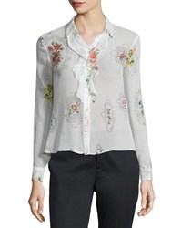 Red Valentino Framed Floral Print Ruffle Front Blouse Women's Size 38 0 Latte