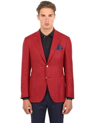 Canali Kei Wool And Silk Blend Twill Blazer Red