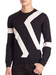 Kent And Curwen Hexagon Intarsia Knit Sweater Black White
