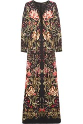 Roberto Cavalli Embellished Printed Stretch Jersey Maxi Dress Black