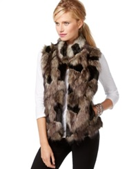 Inc International Concepts Petite Faux Fur Knit Back Vest Only At Macy's Black Multi