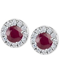 Macy's Ruby 1 1 5 Ct. T.W. And Diamond 1 3 Ct. T.W. Halo Stud Earrings In 14K White Gold Red