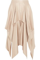 Barbara Casasola Draped Asymmetric Silk Crepe Skirt Blush