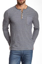 Jeremiah Long Sleeve Stripe Henley Blue