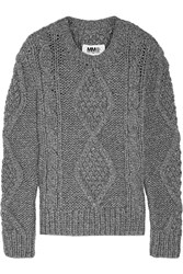 Maison Martin Margiela Chunky Cable Knit Wool Blend Sweater Gray
