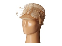 Scala Sinamay Cloche With Bow And Feathers Trim Taupe Caps