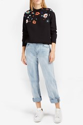 Victoria Beckham Women S Embroidered Flower Jumper Boutique1 Black