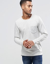 Jack And Jones Jack And Jones Navy Long Sleeve Top With Pocket And Bird Print White