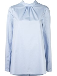 Tibi Ruched Neck Blouse Blue